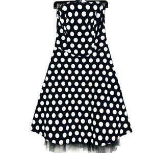 Ruby Rox Black White Polka Dot Dress Strapless 13